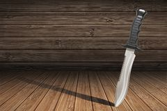 Tactical Combat Hunting Survival Sawback Bowie Knife Thrust Into Bamboo Floorboards Royalty Free Stock Photo