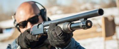 Tactical combat pump gun shooting training. Shotgun weapon action course
