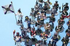 Tactical formation of tin soldiers during the Napoleonic wars. Of 1812 Stock Photos