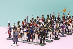 Tactical formation of tin soldiers during the Napoleonic wars. Of 1812 Stock Image