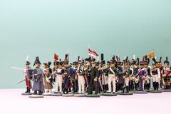 Tactical formation of tin soldiers during the Napoleonic wars. Of 1812 Royalty Free Stock Photo