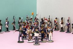 Tactical formation of tin soldiers during the Napoleonic wars. Of 1812 Royalty Free Stock Images
