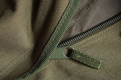 Tactical holdall army bag zipper Stock Photo
