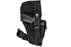 A tactical holster made from high-tech fabric with quick connect. Ion system, close up, isolated Stock Photo