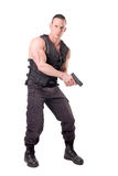 Tactical law enforcer posing Stock Images