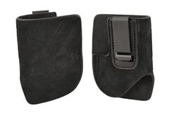 A tactical leather holster without gun. Isolated.  Stock Photography
