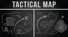 Tactical map of the fighting. Vector illustration. Tactical map of the fighting, Strategy, Vector illustration on the chalkboard background Stock Photography