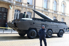 Tactical operational missile complex point on military hardware parade. Stock Photography