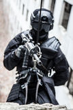Tactical rappeling Stock Image