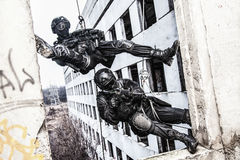Tactical rappeling Royalty Free Stock Photography
