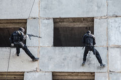 Tactical rappeling Royalty Free Stock Photo