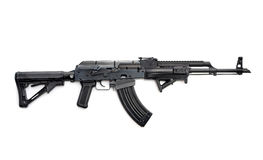 Tactical rifle. Tactical custom built AK-47 7.62 rifle on white background royalty free stock images