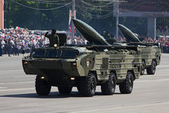 Tactical rocket `Tochka-U`. Rostov-on-Don, Russia, May 9, 2012. Victory Parade on the Theater Square royalty free stock photos