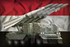 Tactical short range ballistic missile with arctic camouflage on the Egypt national flag background. 3d Illustration. Tactical short range ballistic missile with royalty free illustration