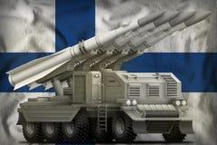 Tactical short range ballistic missile on the Finland national flag background. 3d Illustration Royalty Free Stock Images