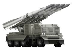 Tactical short range ballistic missile with fictional design - isolated object on white background. 3d illustration vector illustration