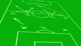 Tactical strategic scheme of soccer game. Animation of tactical strategic scheme of soccer game on board vector illustration