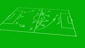 Tactical strategic scheme of soccer game on board. Animation of tactical strategic scheme of soccer game on board stock illustration