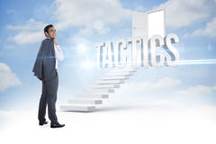Tactics against steps leading to open door in the sky Royalty Free Stock Photos