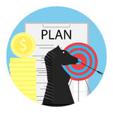 Tactics financial planning. Darts and achievement finance, vector illustration Stock Photo