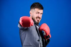 Tactics proven to work. Attack and defense concept. Successful businessman. Criminal defense lawyer planning out. Strategies. Businessman wear boxing gloves stock images