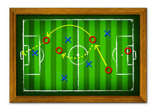 Tactics Soccer in the wooden frame. Royalty Free Stock Images
