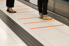 Tactile paving foot path for the blind subway station Royalty Free Stock Image