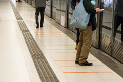 Tactile paving foot path for the blind subway station Royalty Free Stock Photos