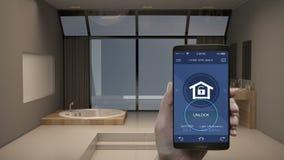 Tacto de la aplicación móvil de IoT, control ahorro de energía de la eficacia de la cerradura de la seguridad en el hogar, aparat almacen de video