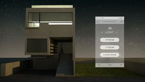 Tacto de la aplicación móvil de IoT, control ahorro de energía ligero de la eficacia, aparatos electrodomésticos elegantes, Inter almacen de metraje de vídeo