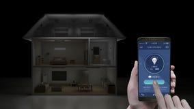 Tacto de la aplicación móvil de IoT, control ahorro de energía ligero de la eficacia del dormitorio, aparatos electrodomésticos e stock de ilustración