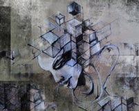 Tacto de la cabeza del cubo Imágenes de archivo libres de regalías