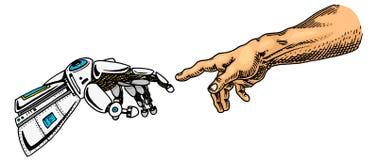 Tacto de la mano Android y humano Bandera de la inteligencia artificial Cartel biónico del brazo Tecnología futura Vintage grabad libre illustration