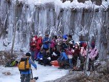 Tacto de la monta?a del lago ice fotografía de archivo