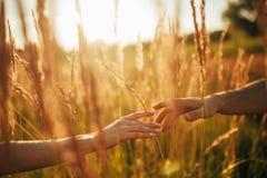 Tacto de manos femeninas y masculinas contra el fondo de la hierba y de s imagenes de archivo