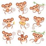 Tacto que cuida Animales salvajes de la historieta que juegan y que comen caracteres del vector del plátano de monos ilustración del vector