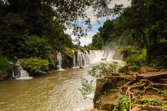 Tad Pha Souam waterfall Bajeng National Park, Paksa  Laos. Stock Photo