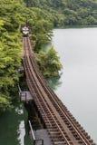 Tadami järnväg linje Royaltyfri Fotografi