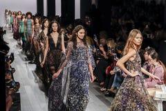 Tadashi Shoji SS 2018. New York, NY, USA - September 7, 2017: Models walk runway for the Tadashi Shoji Spring/Summer 2018 runway show during New York Fashion Stock Images