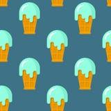 Tadelloses nahtloses Muster der Eiscreme Kühler Nachtisch in Waffel Schale tex Lizenzfreies Stockfoto