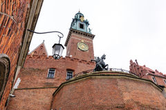 Tadeusz Kosciuszko monument Wawel clock tower Stock Image