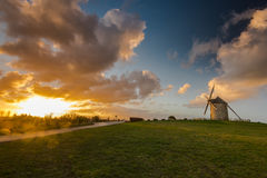Taditional ancient windmill in France. Royalty Free Stock Photo