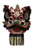 Chinese lion dance head mask isolated on white background, Chinese style,black. stock photo