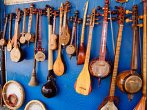 Taditional eastern musical instruments, Bukhara, Uzbekistan. Taditional eastern musical instruments in Bukhara marketplace, Uzbekistan Royalty Free Stock Photos