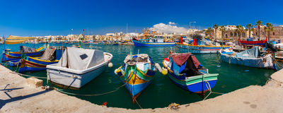 Taditional eyed boats Luzzu in Marsaxlokk, Malta Stock Image