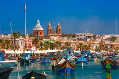 Taditional eyed boats Luzzu in Marsaxlokk, Malta Stock Photos
