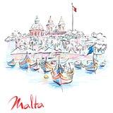 Taditional eyed boats Luzzu in Marsaxlokk, Malta royalty free illustration