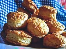 Taditional Hungarian savory pastry cheese scones - pogacsa. Group of freshly baked  savory Hungarian homemade, country food pogacsa Stock Images