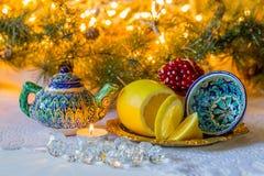 Tadjik, de Noël toujours la vie dans le style tadjik avec les plats nationaux Image stock