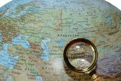 Tadjikistan on Russian globe Stock Photo